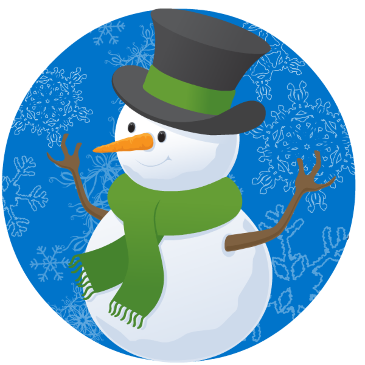 Winter clip art: Snowman in a circle
