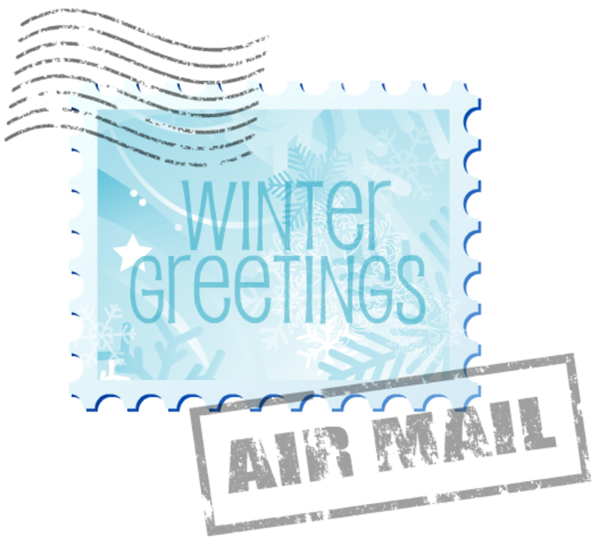 Winter clip art: Winter greetings air mail stamp