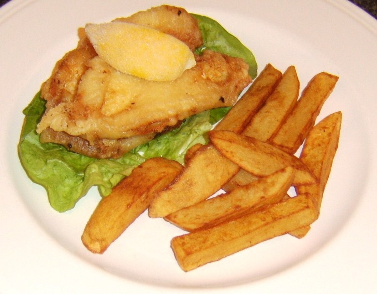 Lemon sole fillets are dipped in a simple flour and water batter and deep fried