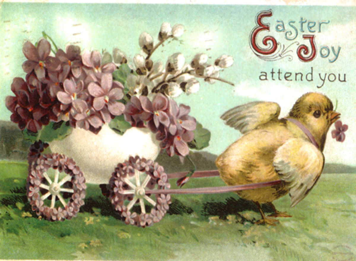 Baby chick pulling Easter egg cart full of flowers