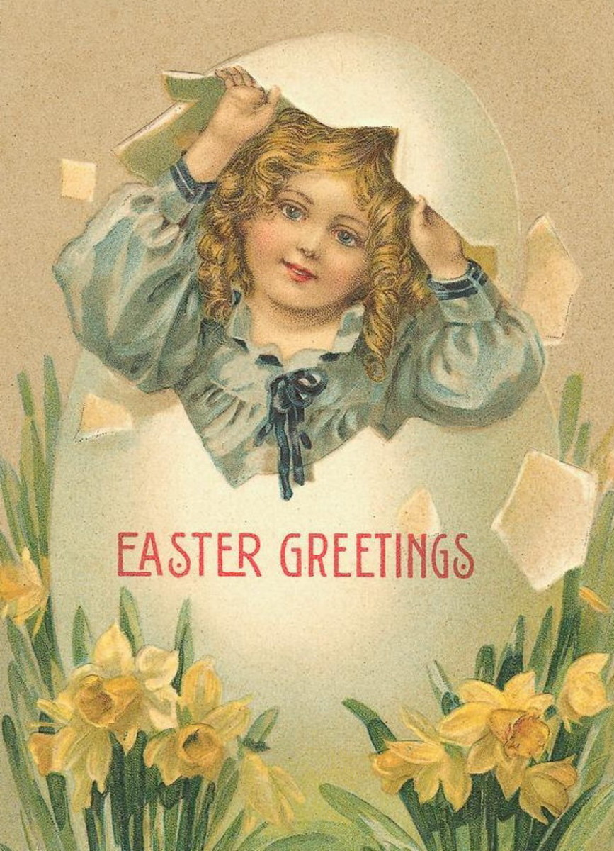 Victorian Easter cards: Little girl in blue coming out of an Easter egg