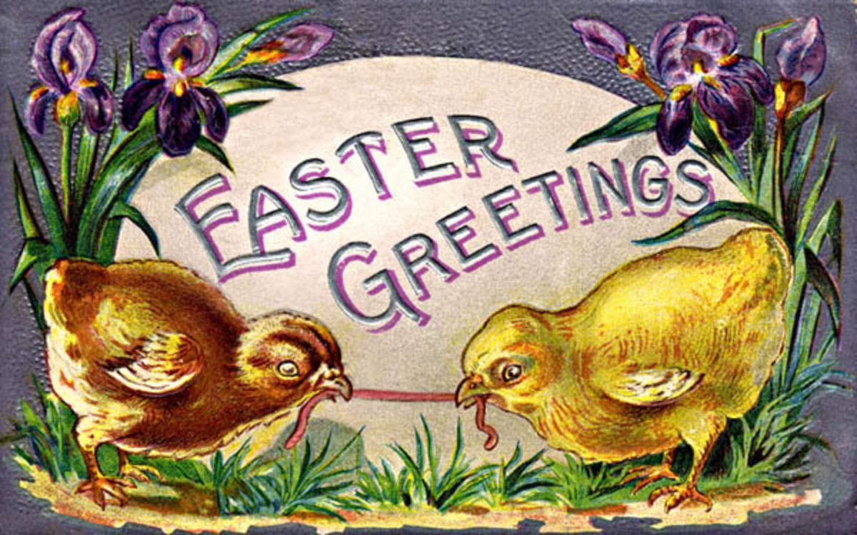 Victorian Easter cards: Baby chicks fighting over a worm in front of an Easter egg