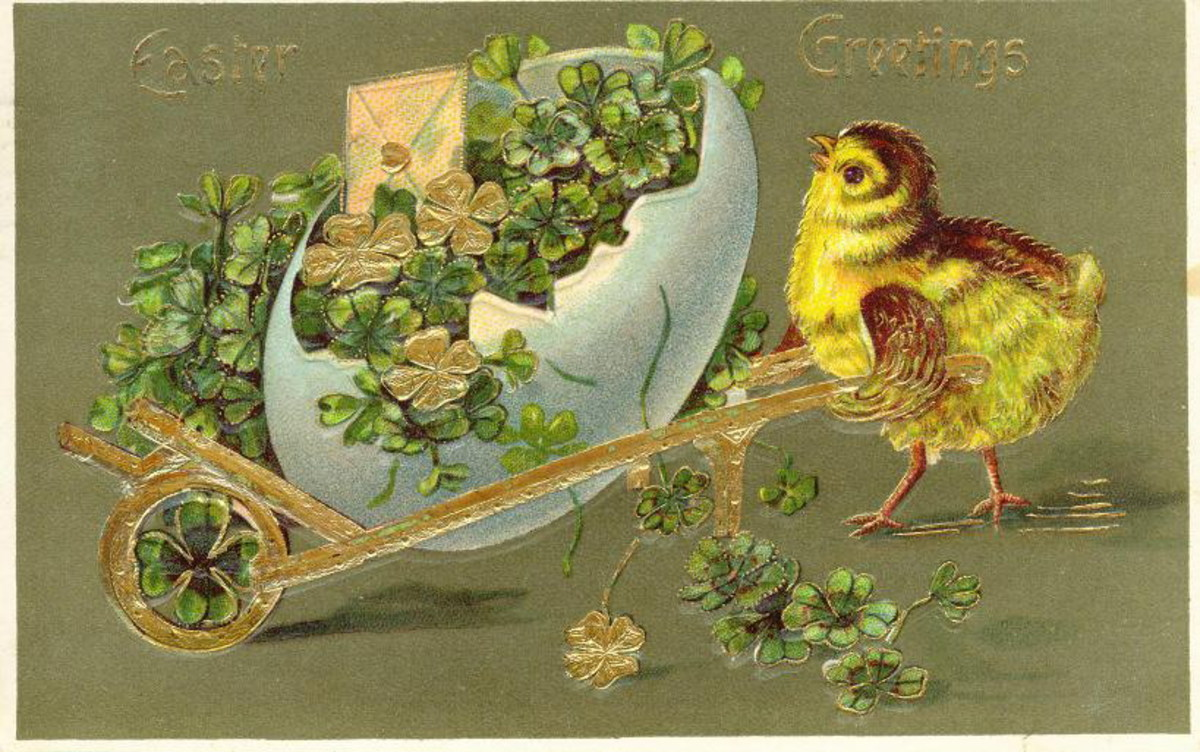Vintage Easter cards: Yellow baby chick pulling an Easter egg filled with four-leaf clovers in a cart