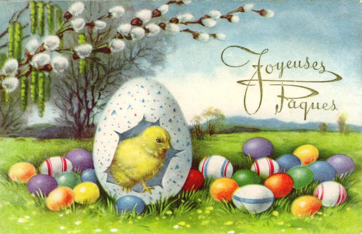 Vintage Easter card: Yellow baby chick inside speckled Easter egg, surrounded by colored eggs