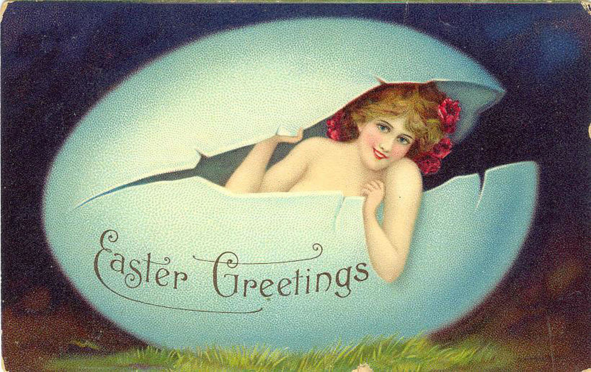 Vintage Easter cards: pretty woman coming out of a cracked Easter egg