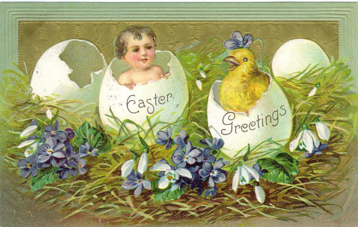Baby and yellow baby chick in broken Easter eggs
