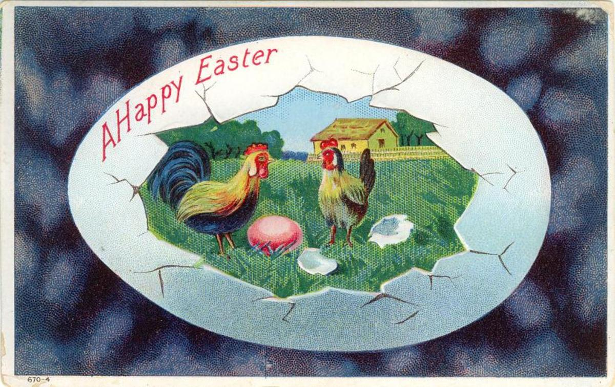 Farm scene with chickens and eggs inside a cracked Easter egg