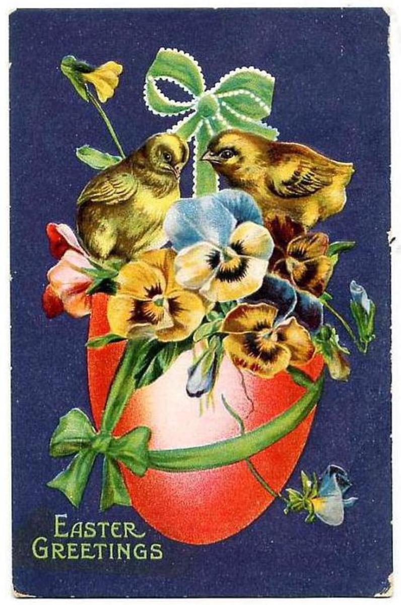 Vintage Easter cards: Multi-colored pansies coming out of a red Easter egg