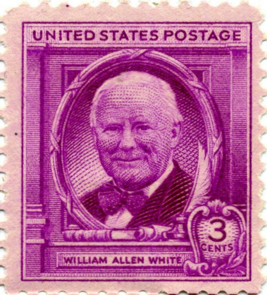 William Allen White, newspaper publisher of Emporia, Kansas, commemorated in US postage stamp of 1948.