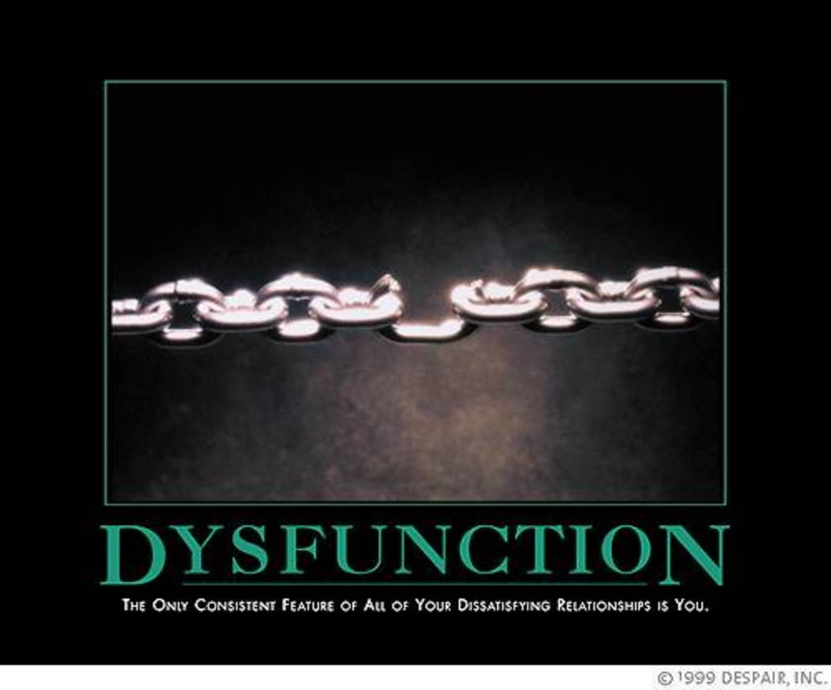 Dysfunction:  The only consistent feature of all of you dissatisfying relationships is you.