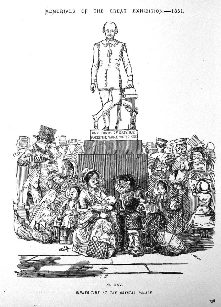 """Cartoon from Punch, 1851, headed """"Dinner Time at the Crystal Palace"""" and the statue says """"One touch of nature makes the whole world King""""."""