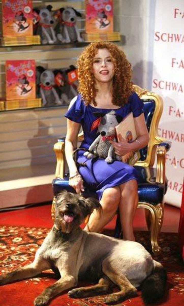 Bernadette Peters and her rescue dog (which she baught with the help of her close friend, Mary Tyler Moore), at FAO Schwarts promoting her new book and stuffed doggie, Broadway