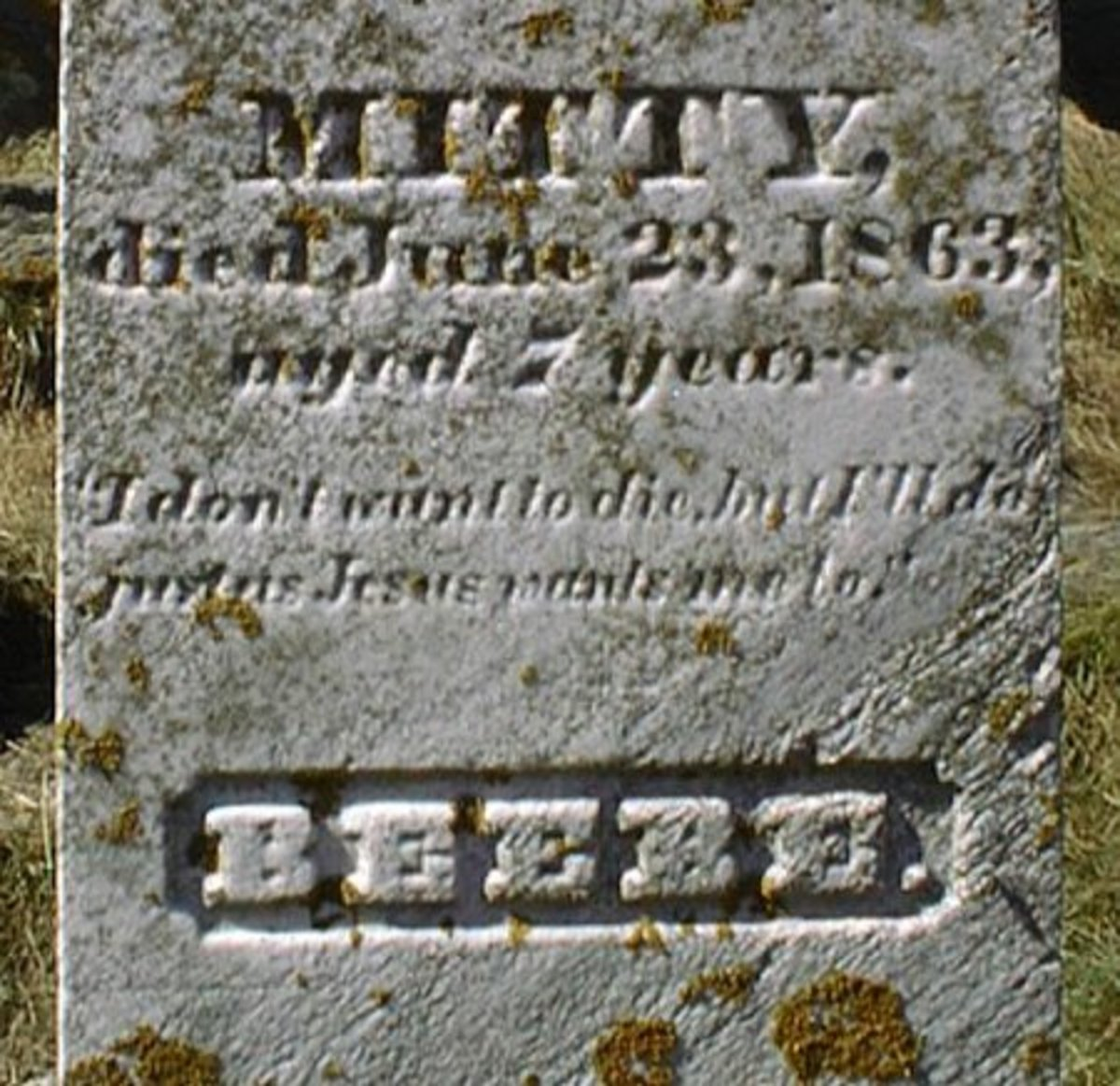 "The moving inscription by Mitty Beebe, aged 7, reads: ""I don't want to die, but I'll do just as Jesus wants me to."" This obelisk memorialized all three Beebe girls who died of either scarlet fever or diphtheria within a month of each other in May and"