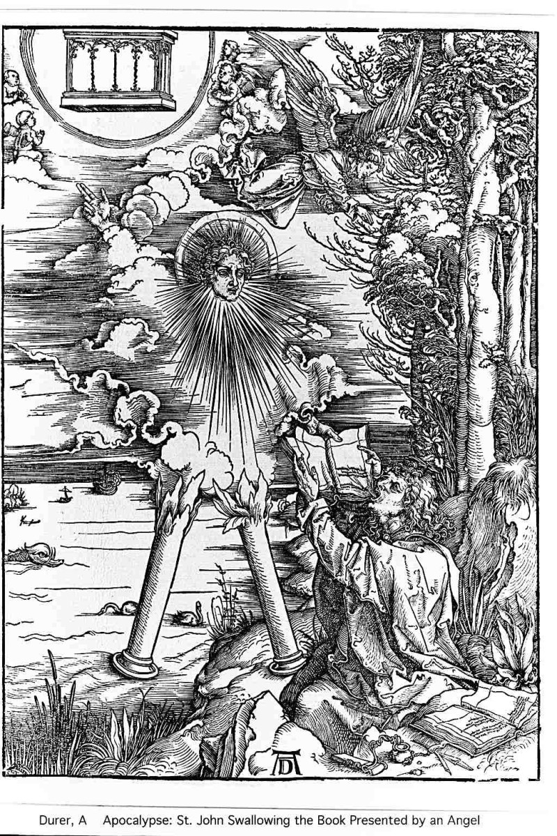 Albrecht Durer depicts the angel with burning pillars for legs making John eat a book.
