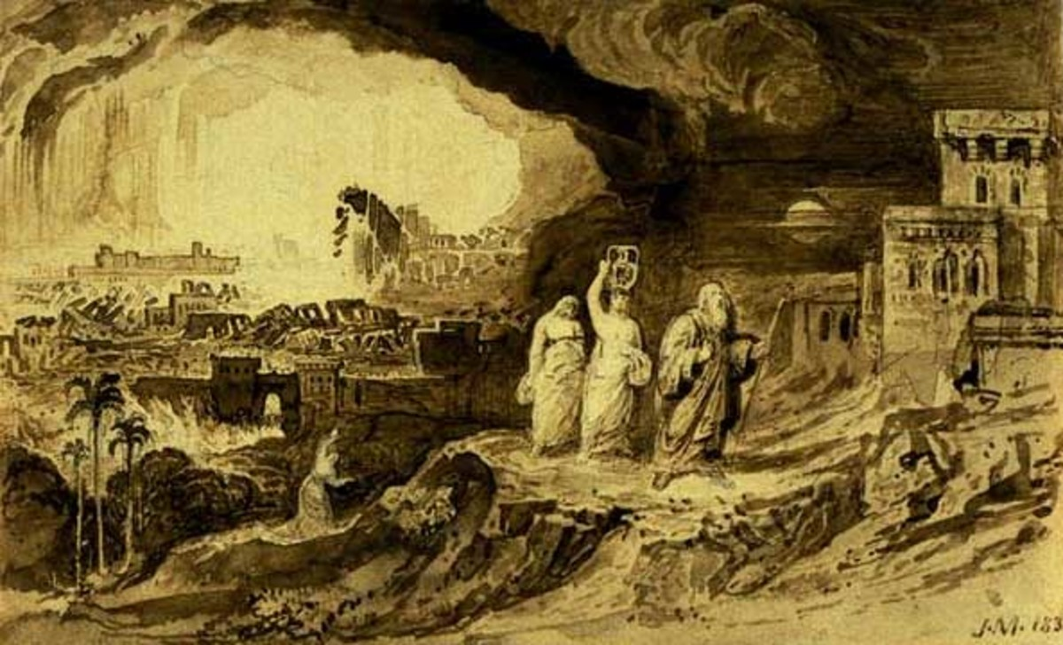 Lot and family fleeing Sodom