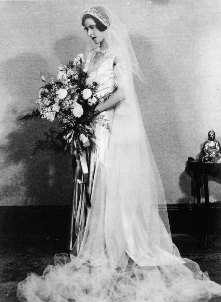 """Florence (Cooee) Blume on her wedding day in Brisbane"" in 1931 wearing a beautiful (now antique) veiw"