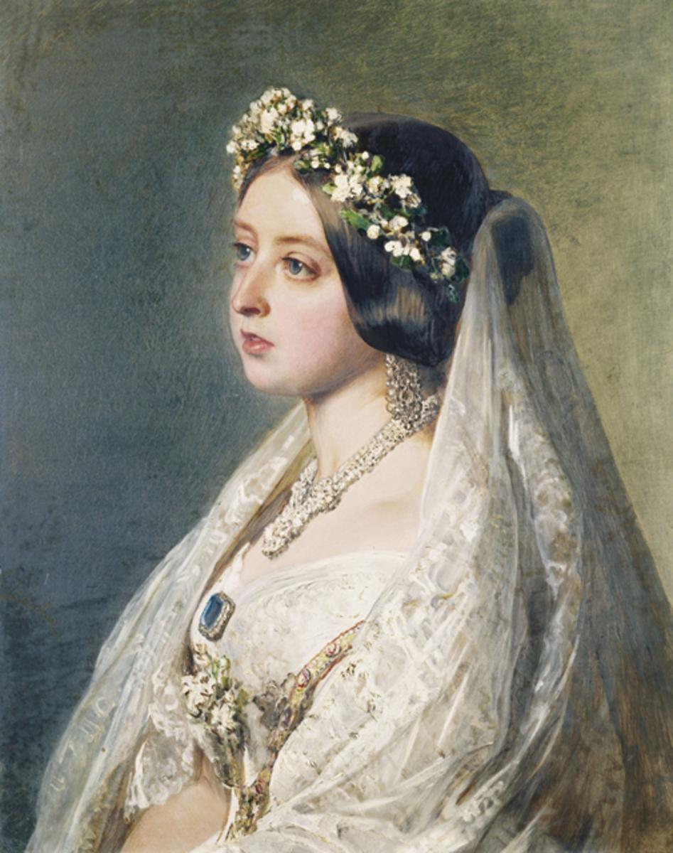 Antique wedding veil - Queen Victoria's lace veil and floral head ornament.