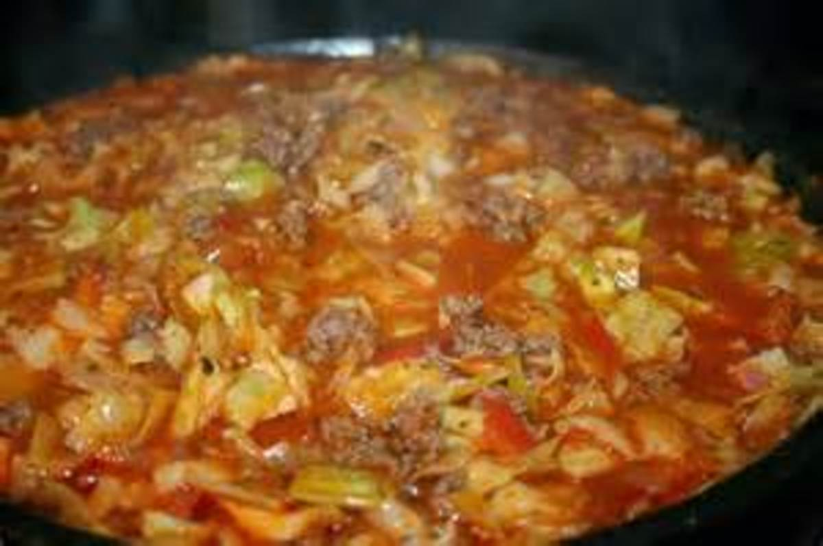 Bear N Mom Recipes  - Ground Beef and Cabbage Stew