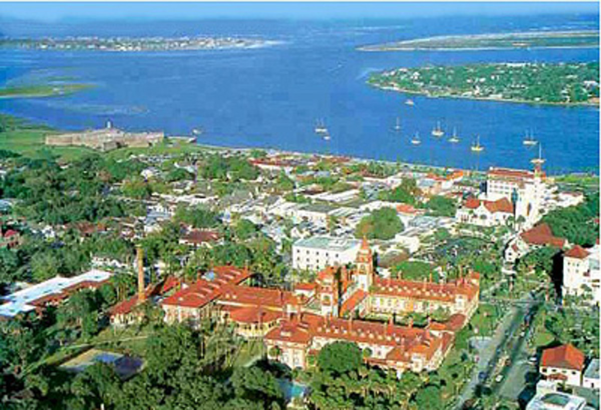 View from the air of St Augustine Florida