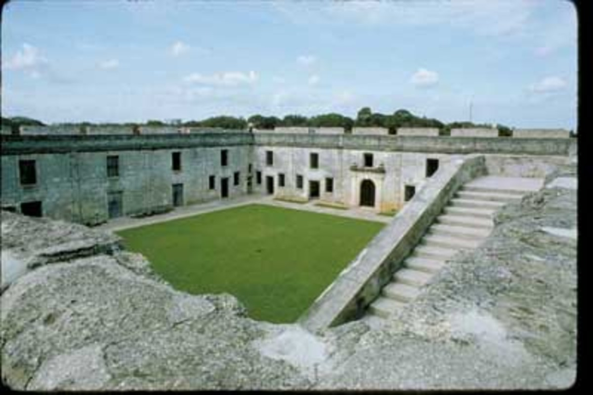 Inside the old Spanish Fort in St Augustine