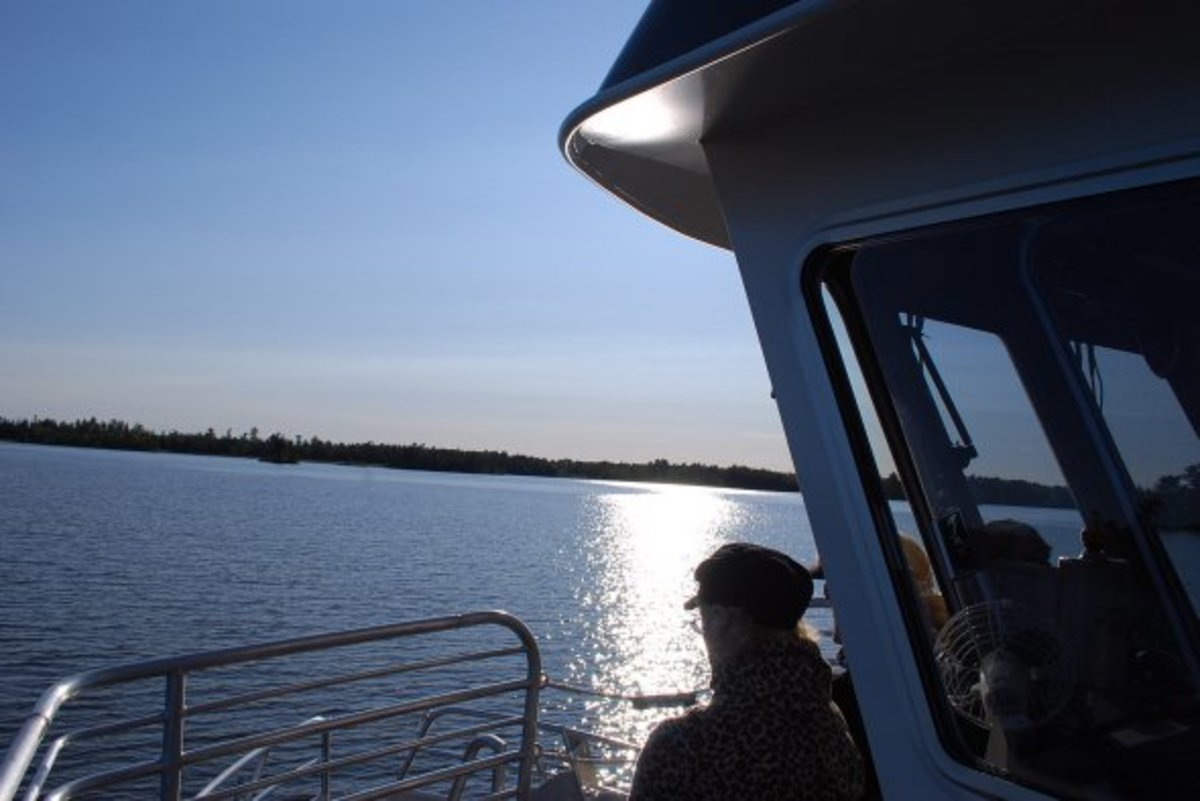 Looking past the wheelhouse.