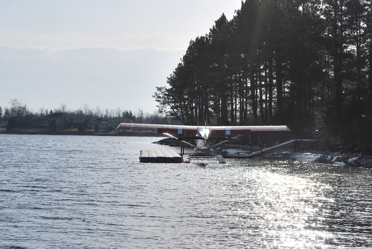float plane at the seaplane dock in International Falls.