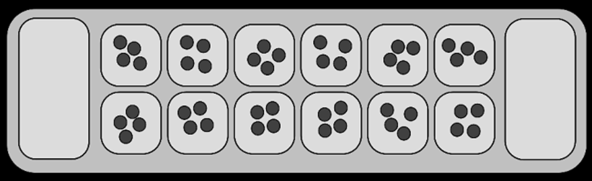How a mancala game board is configured - Rows, holes, and seed store pits.