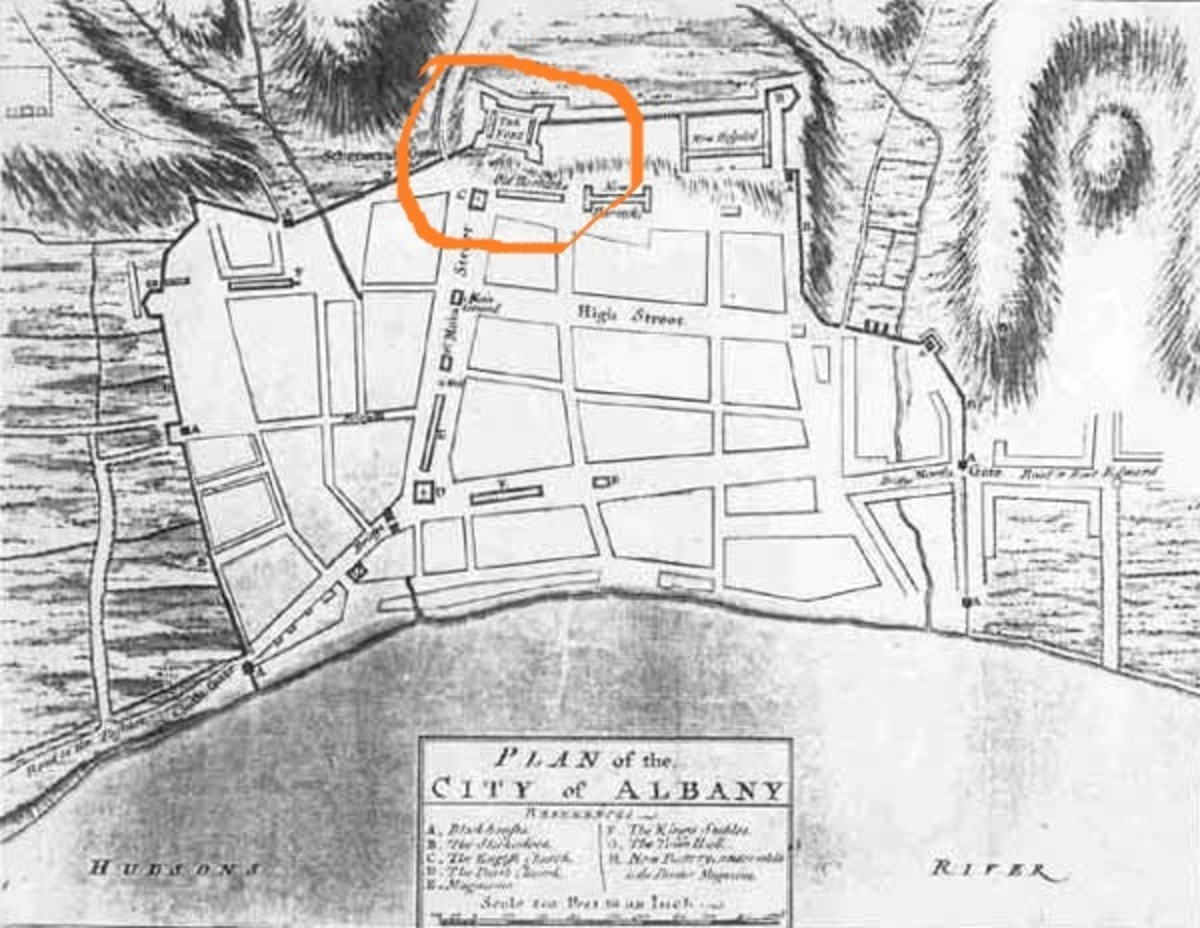 Plan for the town of Albany NY with the star fort, Fort Orange, at the top.