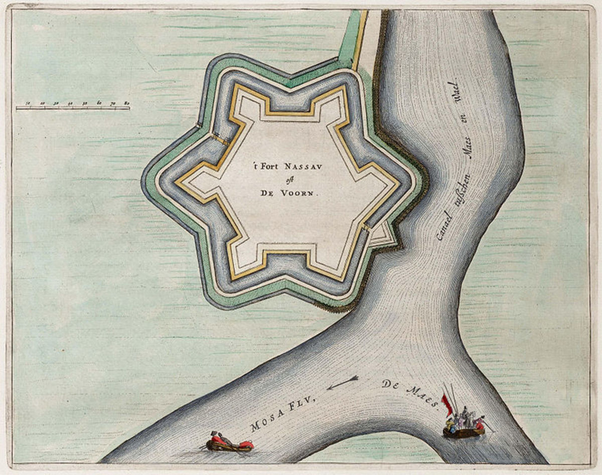 Drawing from 1649. Fort de Voorn or Fort Nassau, at the junction of the Maas and Waal at Heerewaarden, the Netherlands