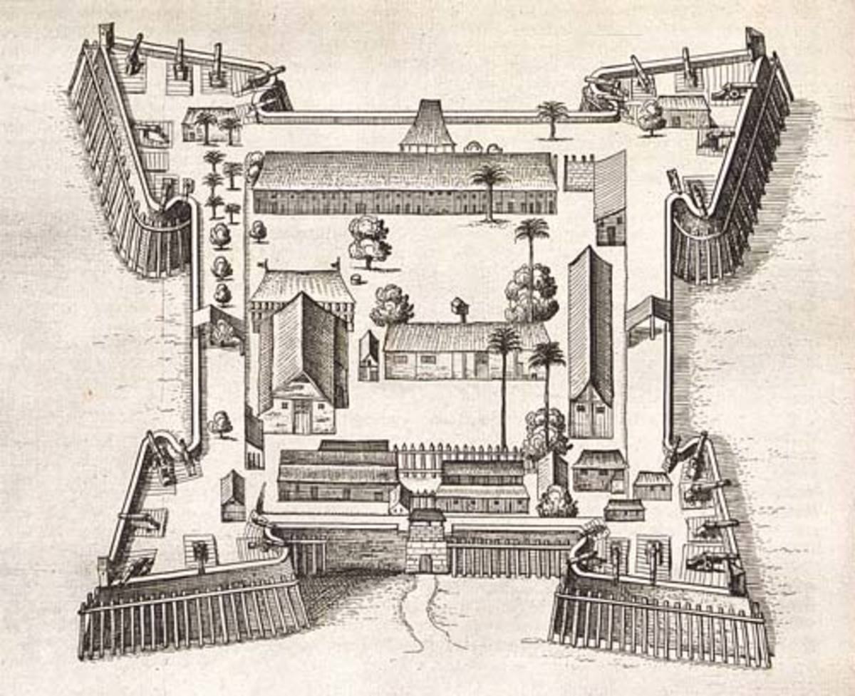 Drawing from 1646: Fort Nassau, est. 1614 In New Netherland (Albany NY).