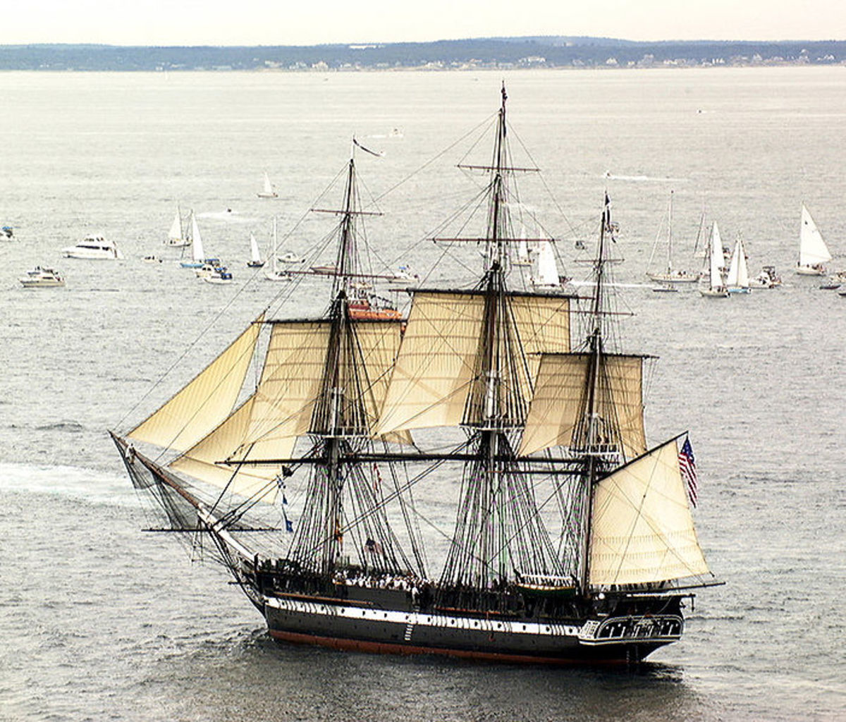 USS Constitution sailing near the Fort Orange Archeological Site.