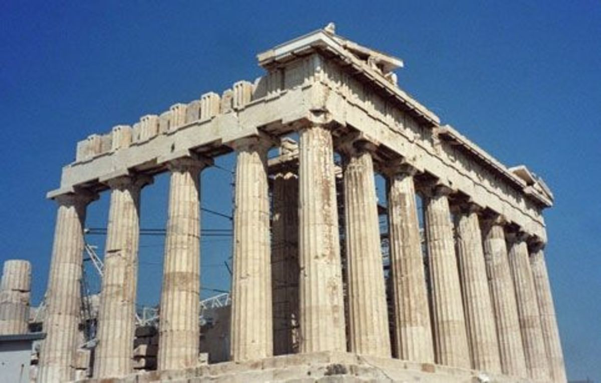 The Parthenon, temple of Athena, looking a little worse for wear: The Acropolis of Athens