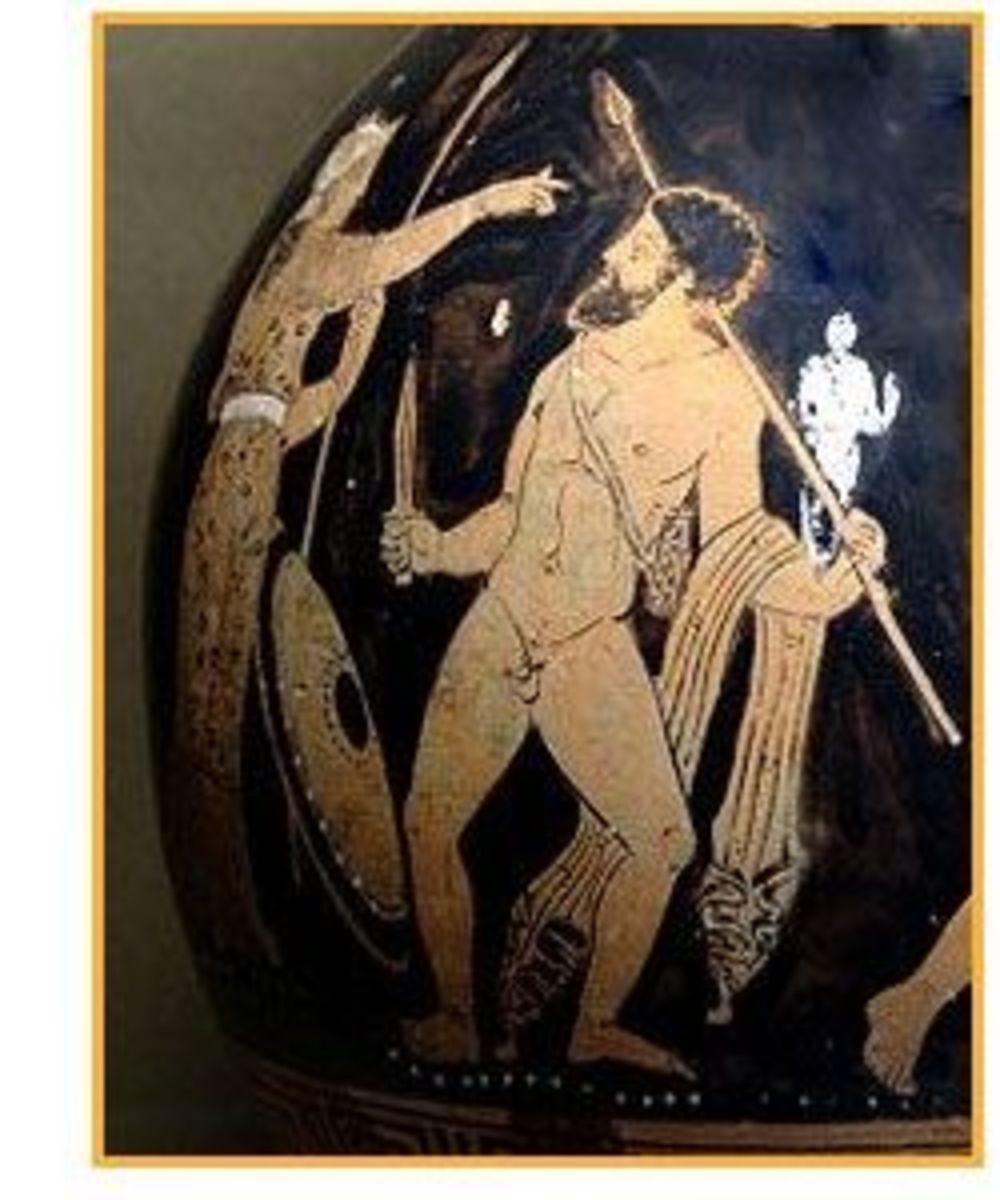 Odysseus steals Palladium under Athena's supervision