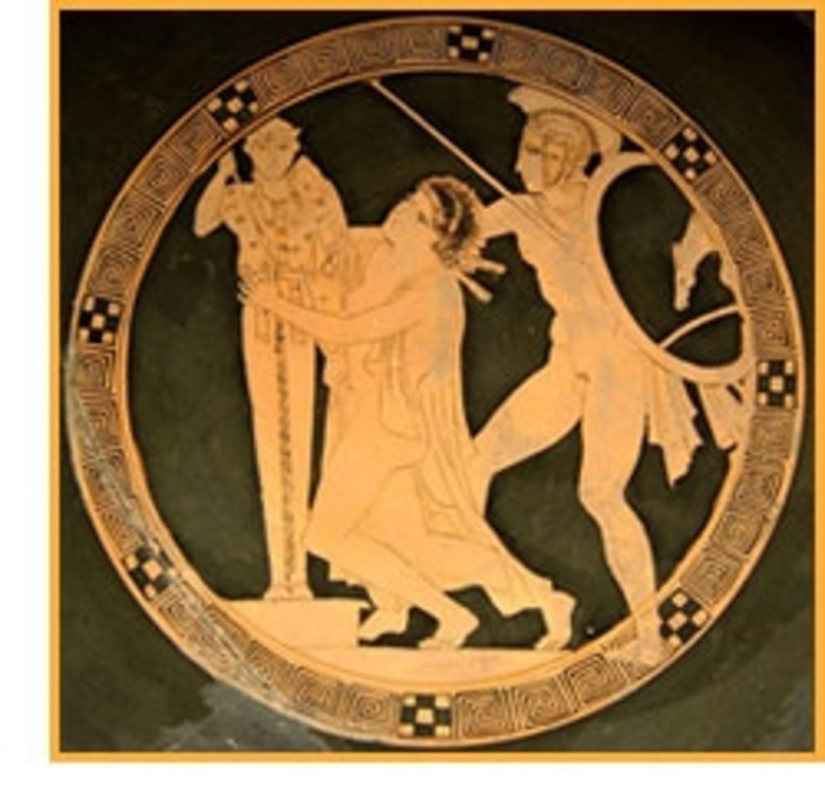 Kassandra clutches the statue of Athena, seeking asyium from Ajax