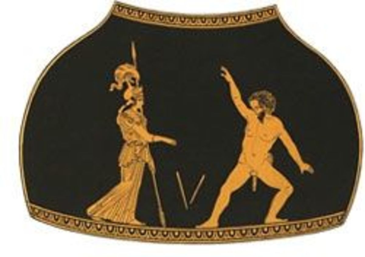 Athena and Marsyas, vase painting vased on a lost Greek statue