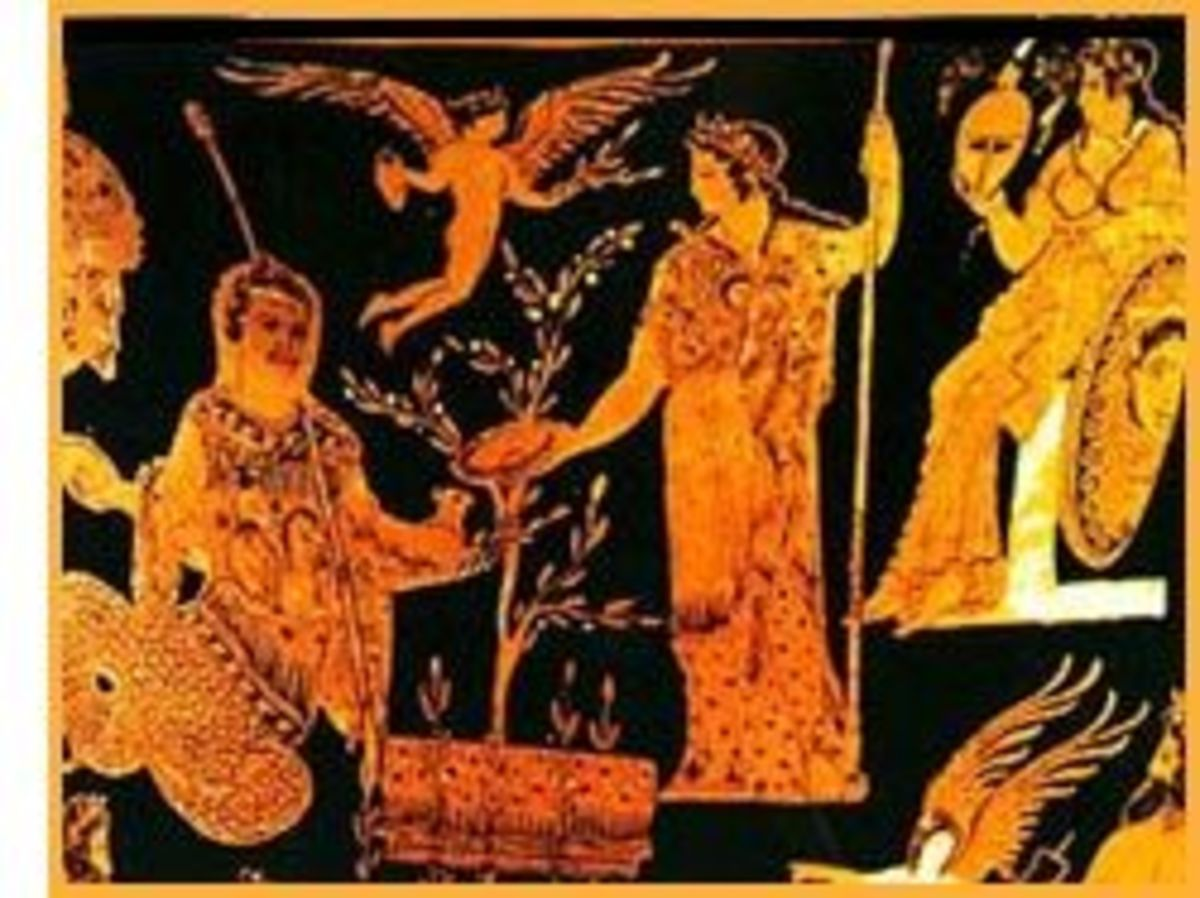 Athena presents olive tree to King Kekrops