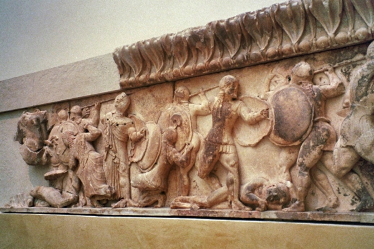 Athena fighting Giants in the battle between gods and giants, on the Siphnian Treasury, Delphi Museum