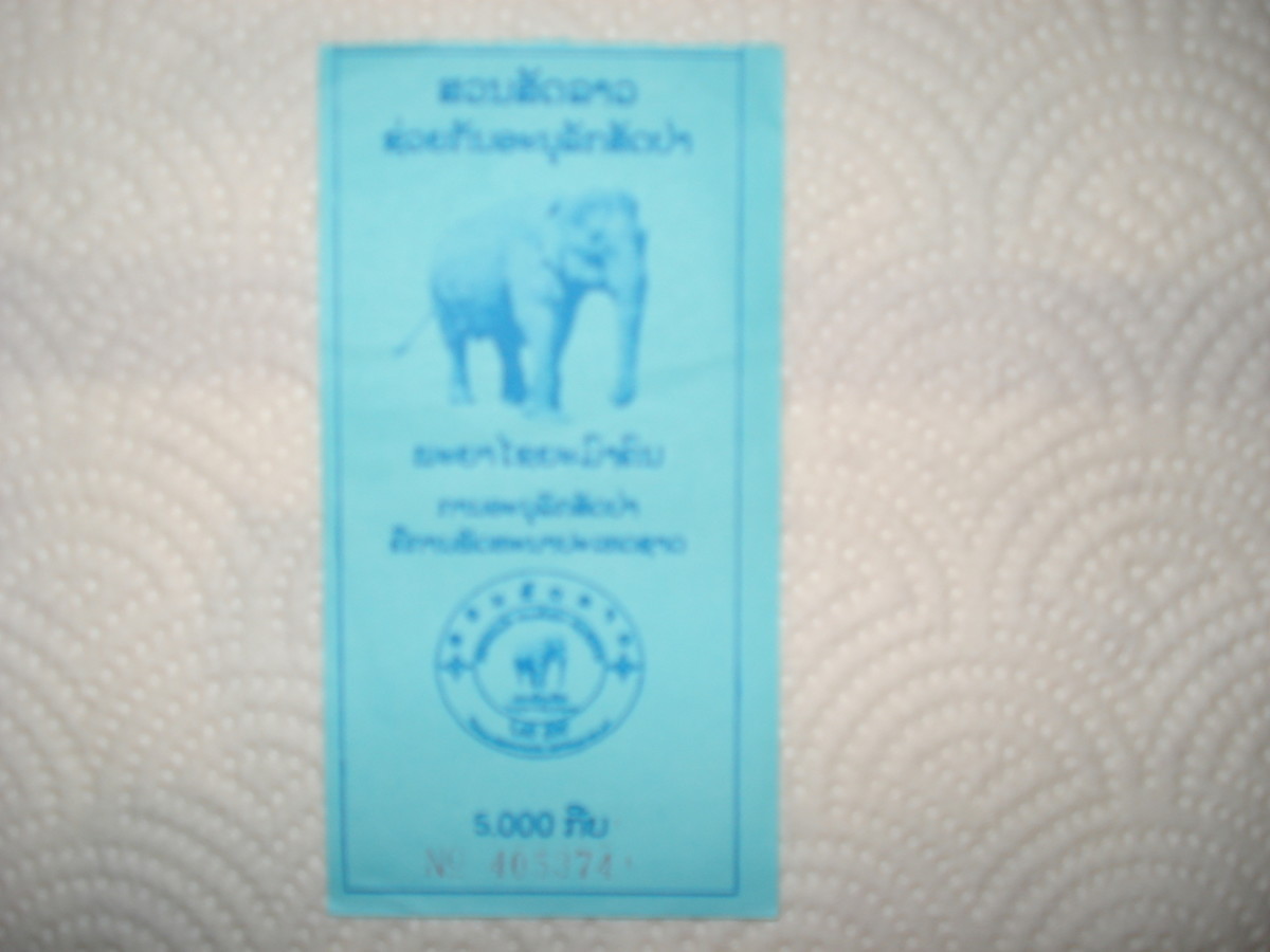 Ticket to the zoo (somehow and unintentionally I got in at foreigner child price of 5000 Laos Kip.