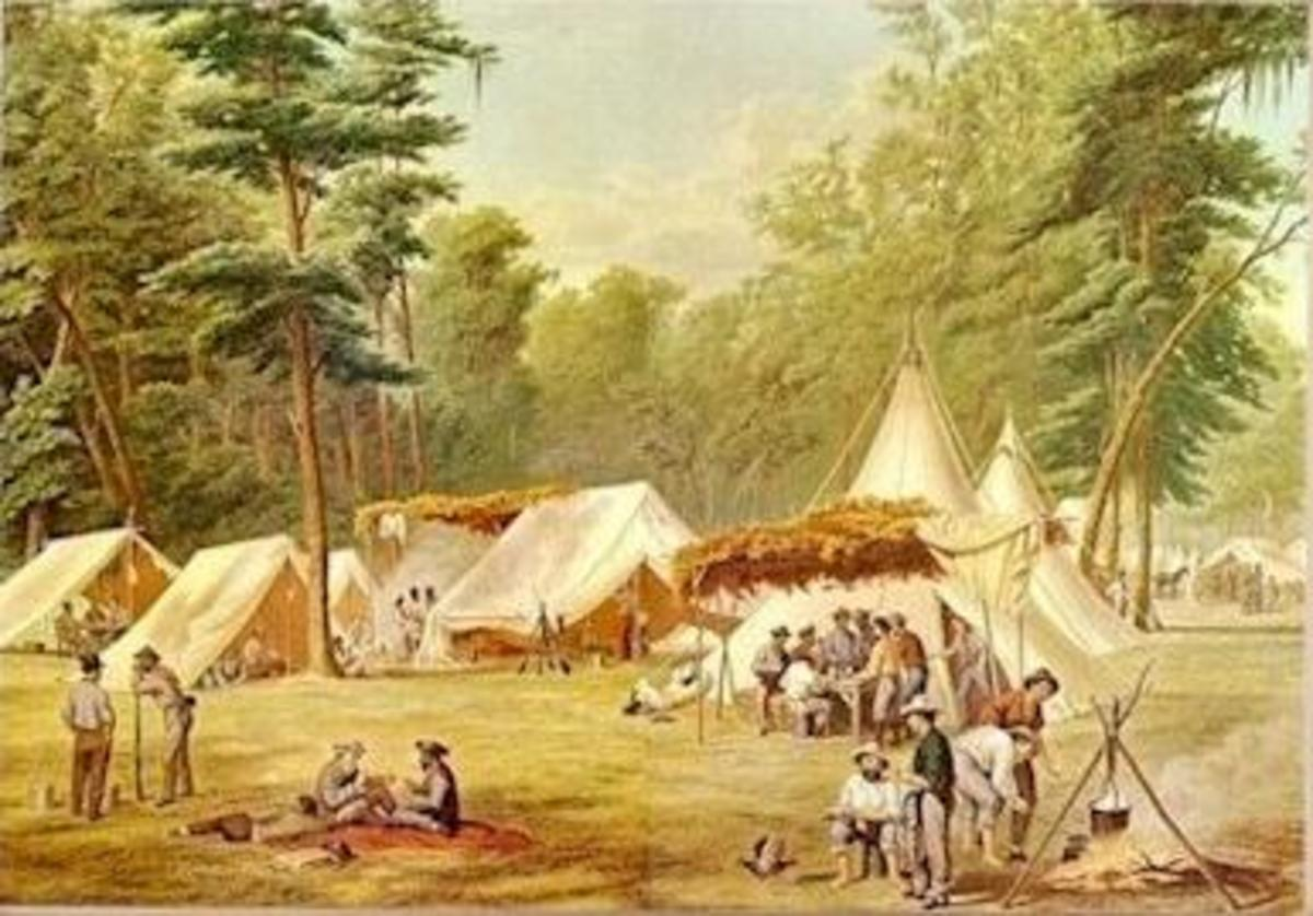 Painting by Conrad Wise Chapman of a Confederate Camp near Corinth Mississippi on May 10, 1862.