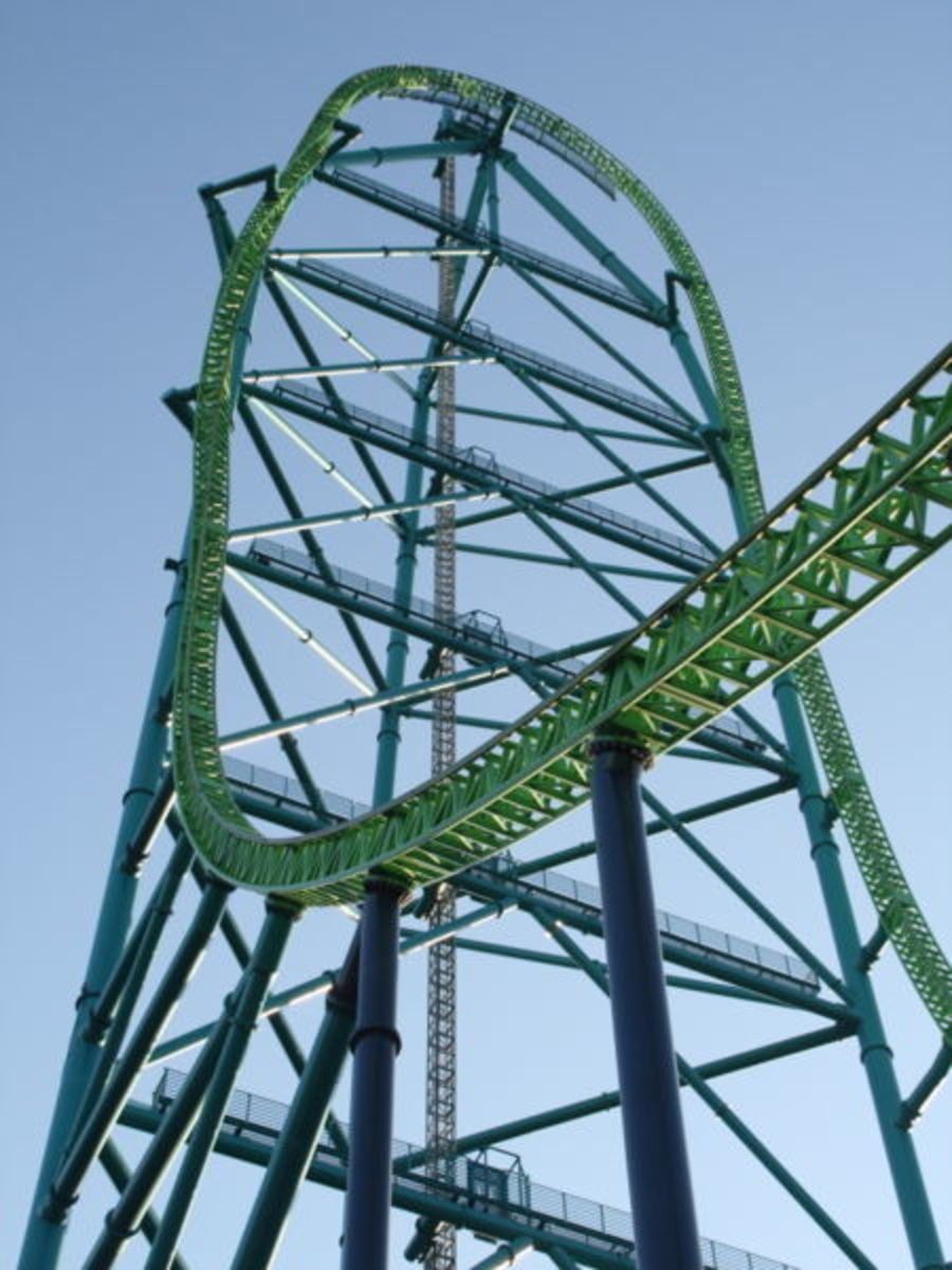 Close-up of Kingda Ka's tower, one of the top 5 scariest roller coasters.