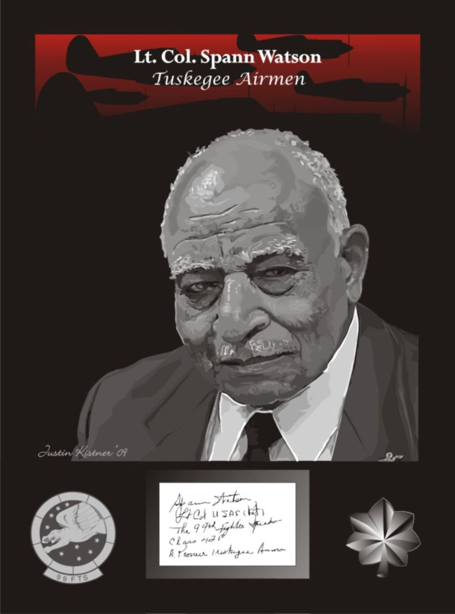 Lt. Col. Spann Watson of the famed Tuskegee Airmen w/autograph vectored.