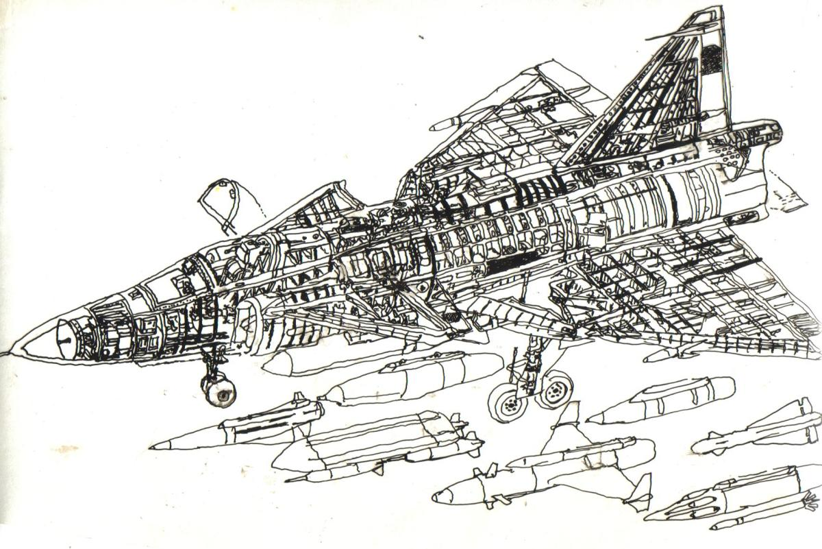 Line drawing of a plane done by Justin when he was only 11 years old. It was done with india ink on acetate and transfered to a silk screen and printed on t-shirts.