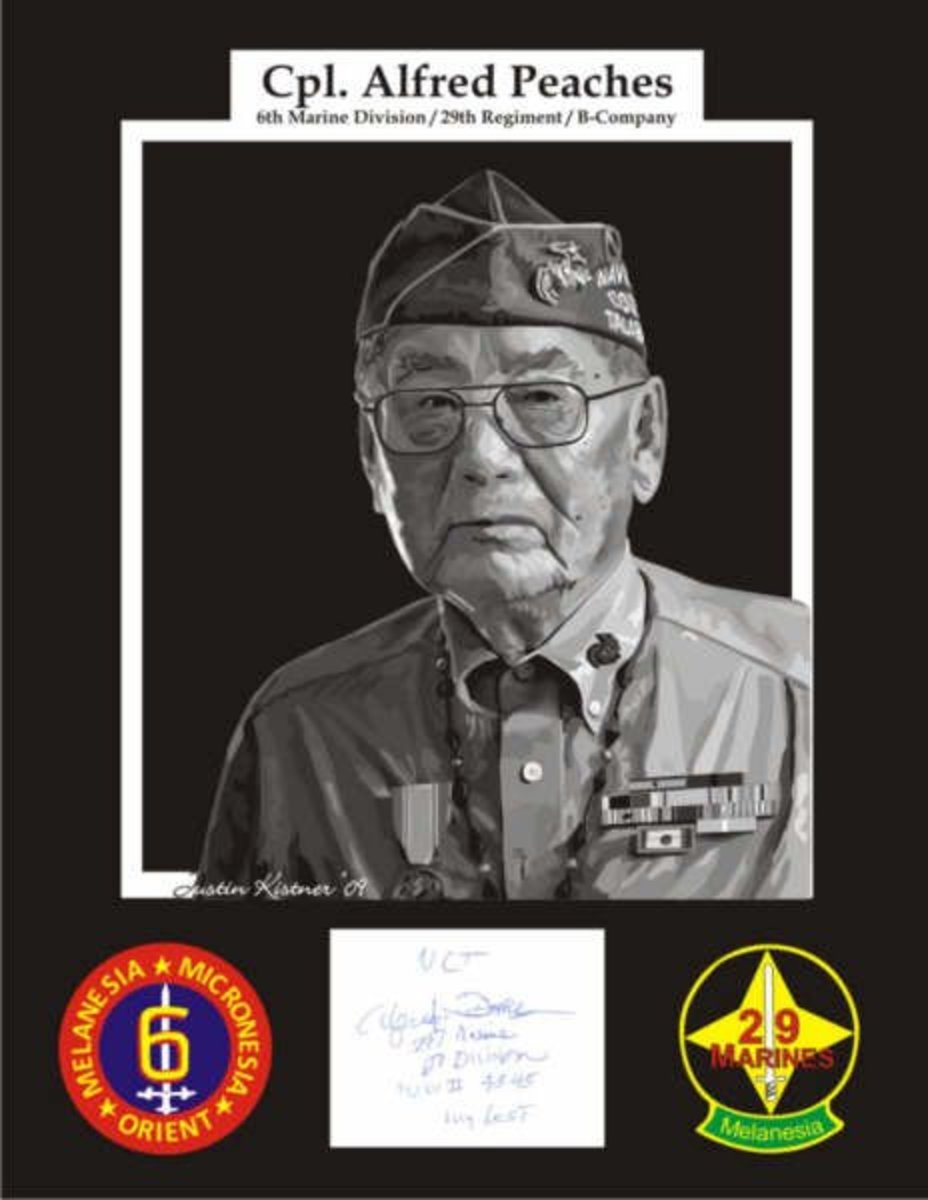 Cpl. Alfred Peaches, Navajo Code Talker (branch of the Marines in WW II)autograph and patches vectored.