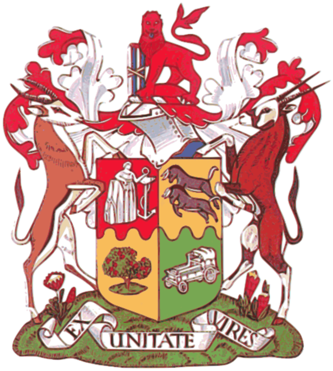 Former Coat of Arms of South Africa, from 1932 to 2000. Image Wikipedia