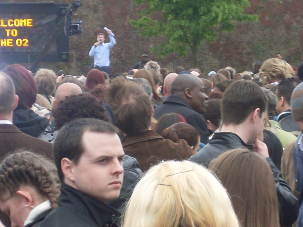 Dermott talks to the crowds