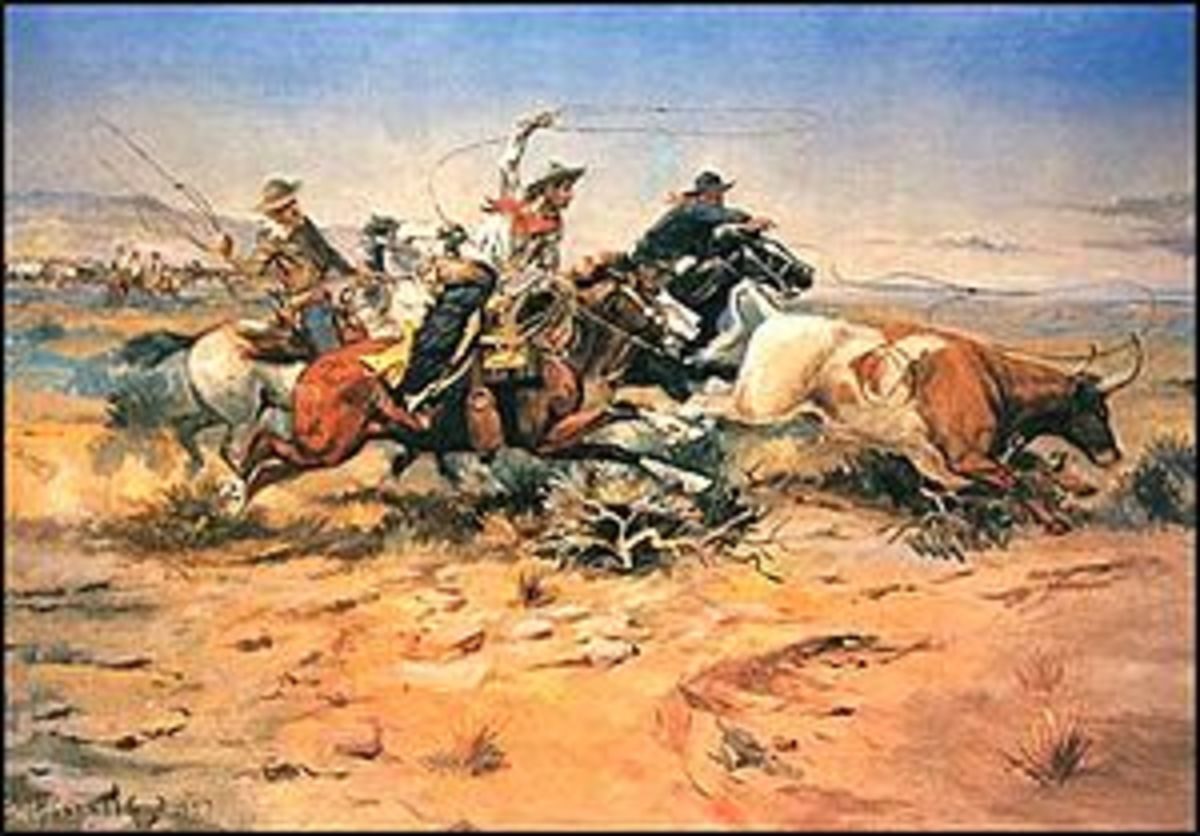 A classic image of the American cowboy, as portrayed by C.M. Russell.