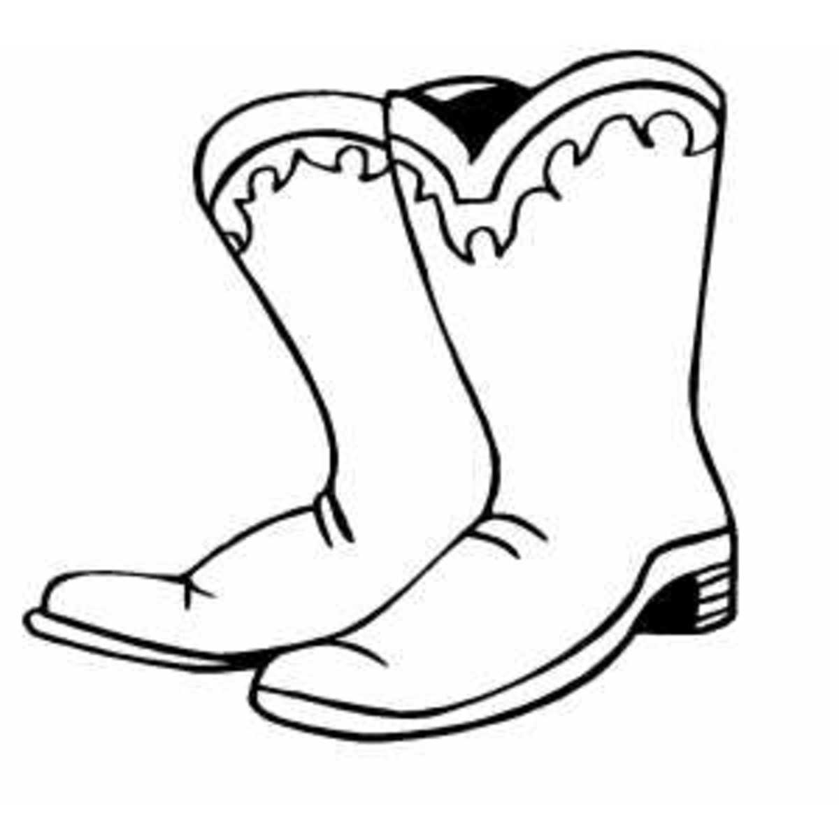 Coloring picture of western cowboy dress boots  - Western Cowboy Kids Coloring Pages and Free Colouring Pictures to Print