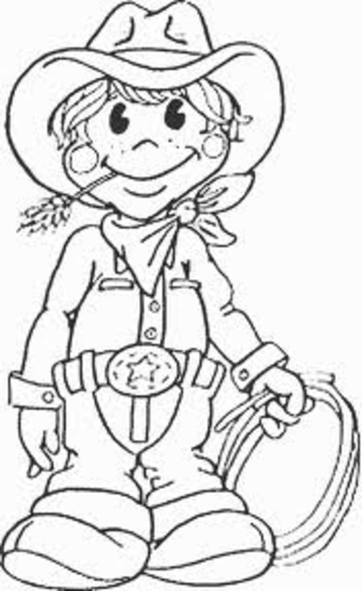 Western Cowboy Kids Colouring Pictures to Print-and-Colour