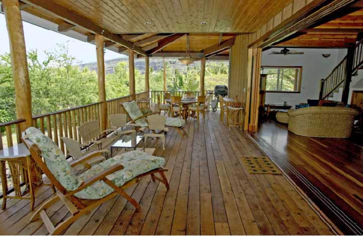 comfortable porch with beautiful wood flooring