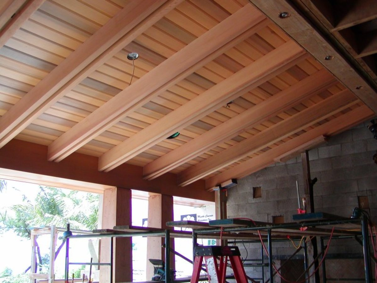 wood ceiling on covered porch